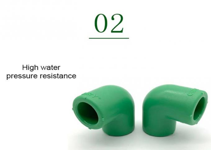 Green Plastic PPR 90 Degree Elbow Smooth Surface With Injection Molded Tech