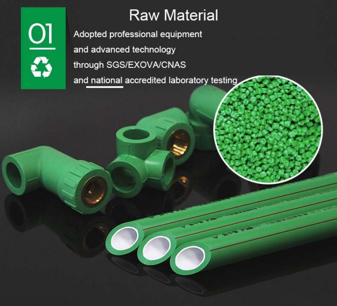 Large Size Green PPR Pipe Fittings , PPR Reducer Tee With Easy Installation
