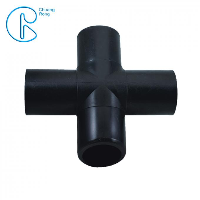 63-355mm Hdpe Fusion Fittings , Hdpe Cross With 4 Way Connection Holes